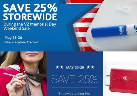 V2 Cigs & Vapor Couture Memorial Weekend Sale – 25% Storewide