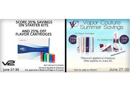 V2 Cigs & Vapor Couture Summer Sale Starts Now – 25-35% Off!